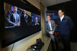Nick Lowther of Proactis with Mike Odysseas (right) of Odyssey Systems using video conferencing. Picture: Richard Doughty